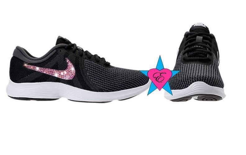 Women s Black Crystal Nike Revolution 4 Running Shoes ca5d17402f