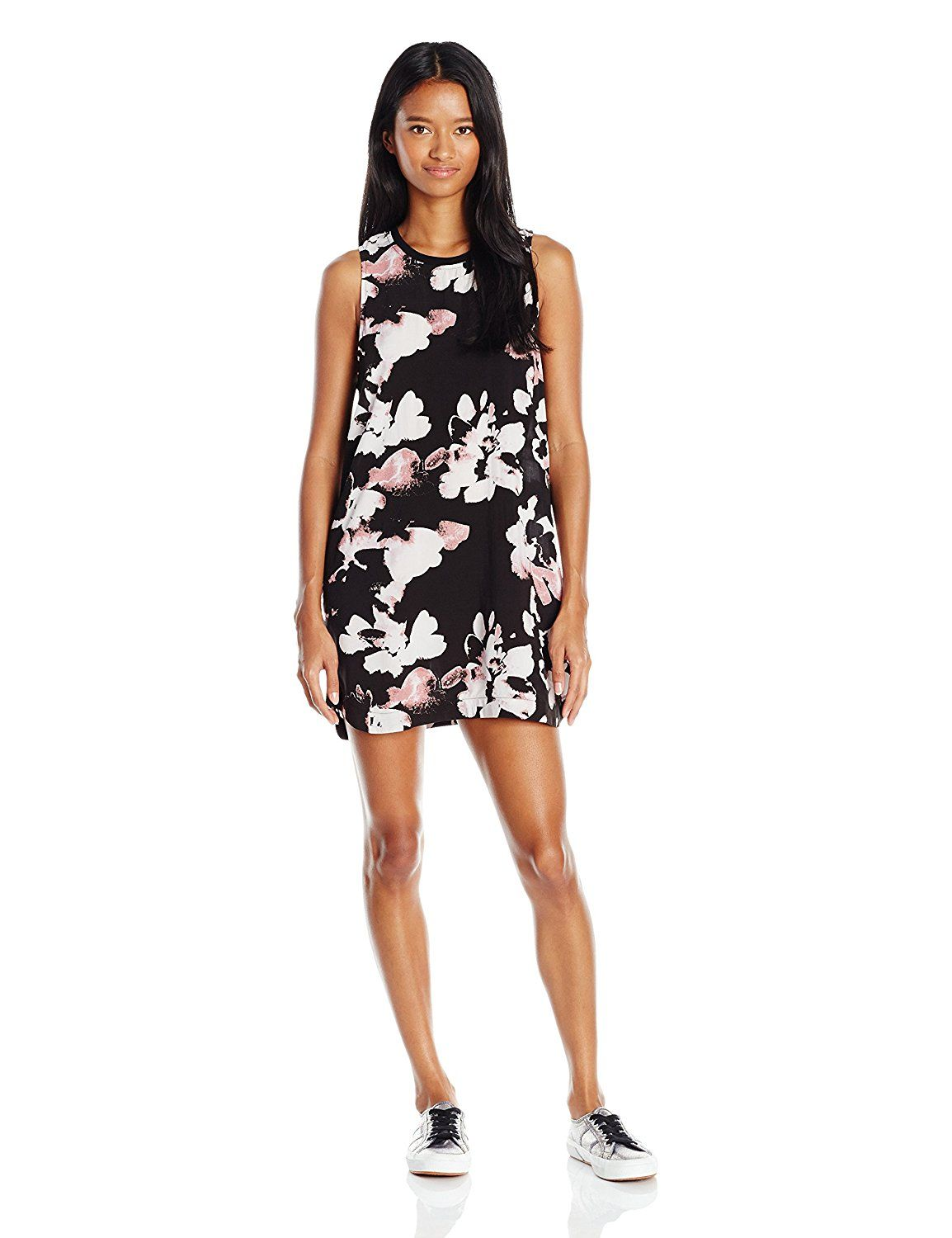 Rvca juniors blake high neck printed shift dress at amazon womenus