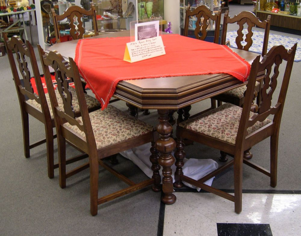 Antique Dining Set Table 6 Chairs Buffet 1930 S Vintage