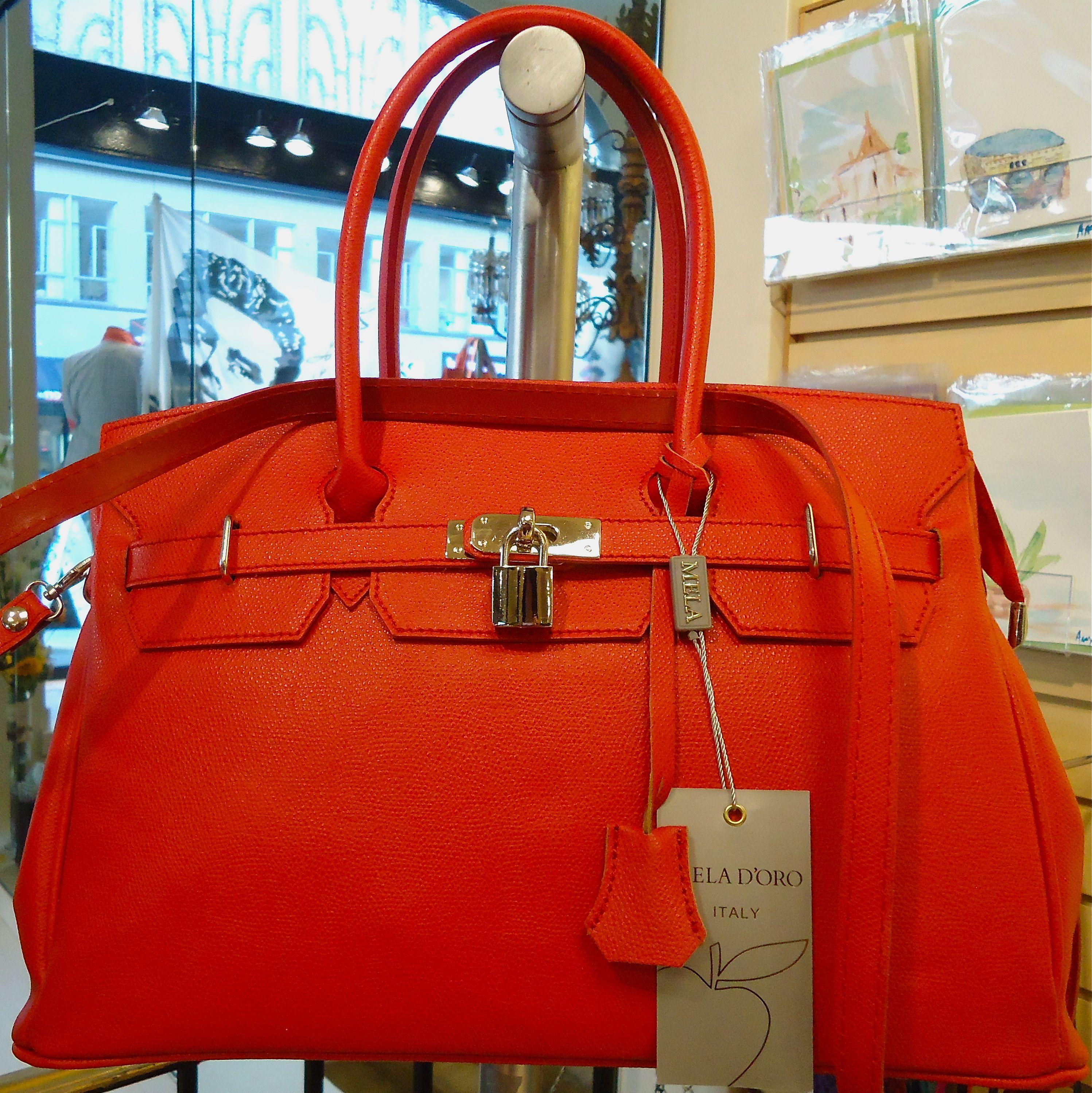 Red Leather Birkin Style Handbag