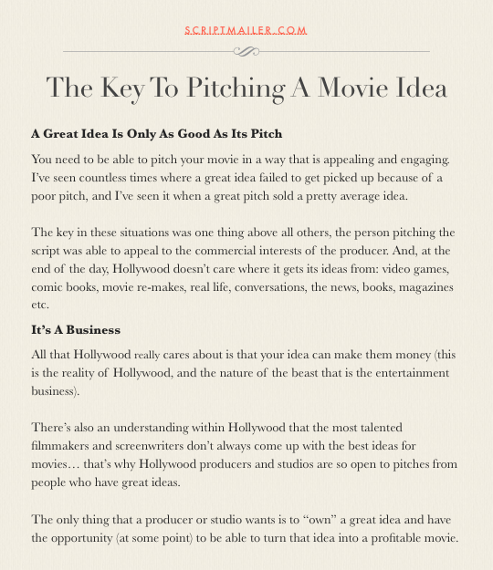 The Key To Pitching A Movie Idea | Screenwriting