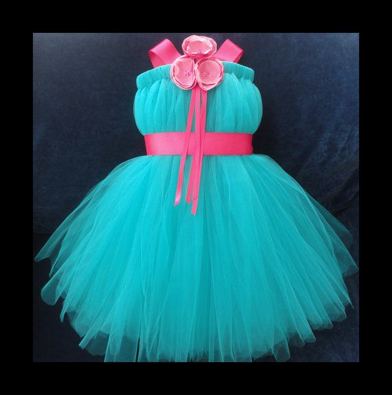 Teal and Pink Flower Girl Dress Little Girls Toddler Girls Baby ...