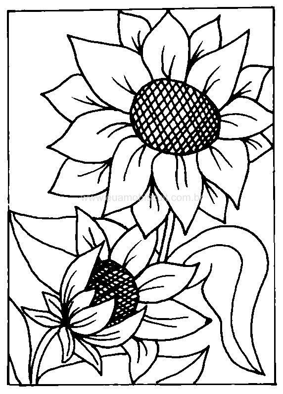 Kleurplaten Zonnebloemen.Zonnebloem Stempels Bloemen Kleurplaten Schilderen Ideeen En