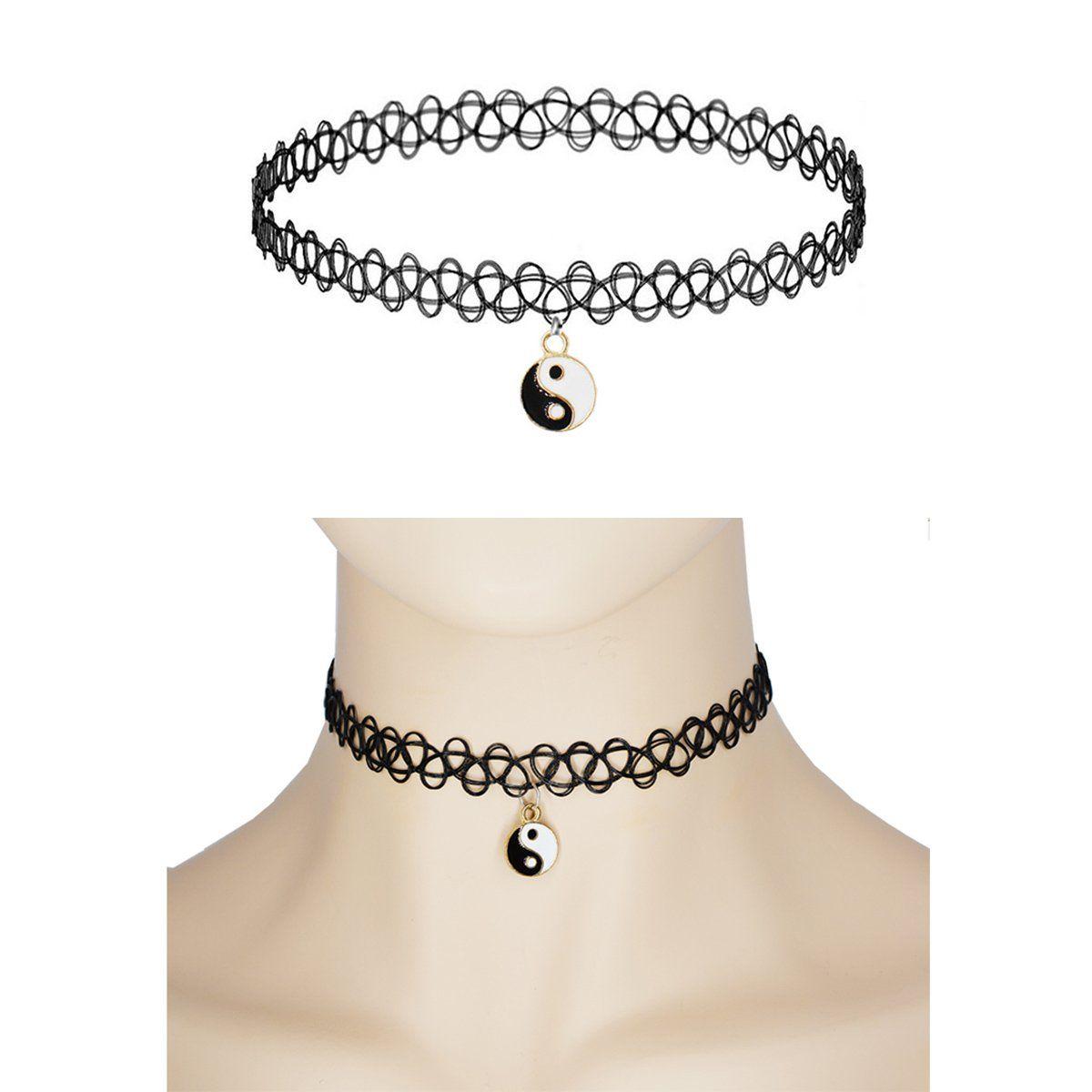 Prohouse pcs gothic womens rubber pendant necklace chain double