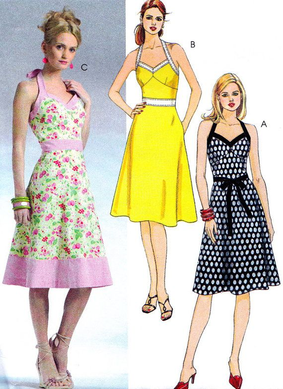 OOP Sewing Pattern McCall\'s 4868 Halter Neck Dress with A-line Skirt ...