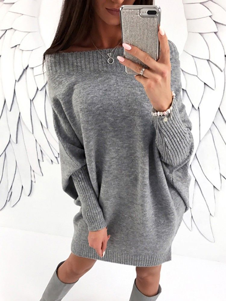 Stylish Long Sleeve Solid Baggy Sweater Dress | Baggy sweaters ...