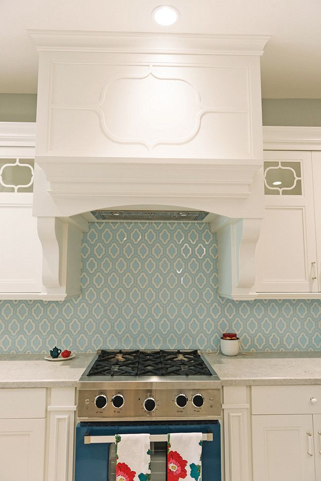 Blue Backsplash Tiles White Kitchen with blue