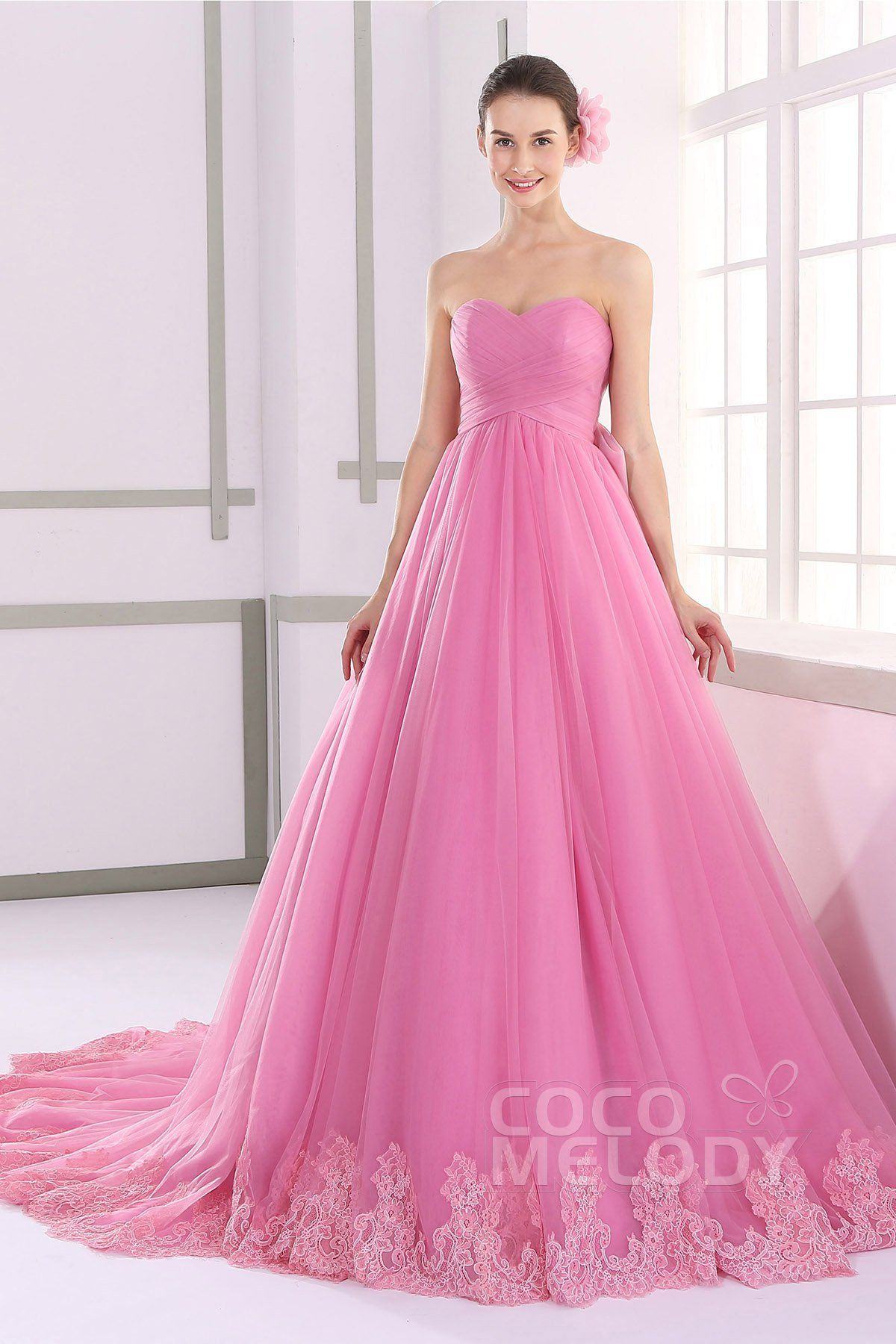 Dramatic+A-line+Sweetheart+Natural+Tulle+Pink+Sleeveless+Lace+Up ...
