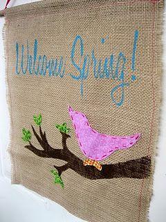 burlap Welcome Spring Door Hanger
