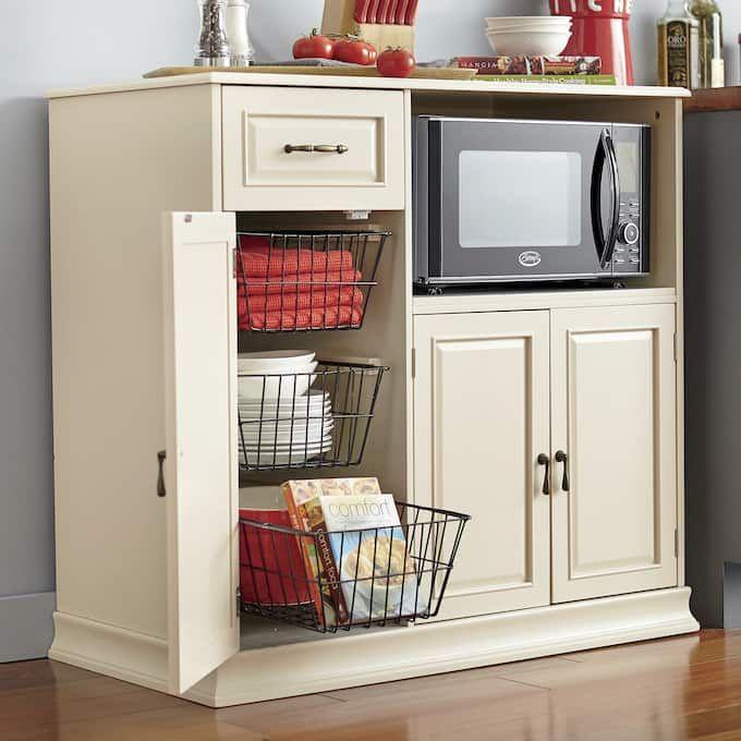 Bayfield Counter Height Microwave Cabinet Large Meuble Rangement Cuisine Petit Stockage De Cuisine Meuble Cuisine Microwave cabinets with storage