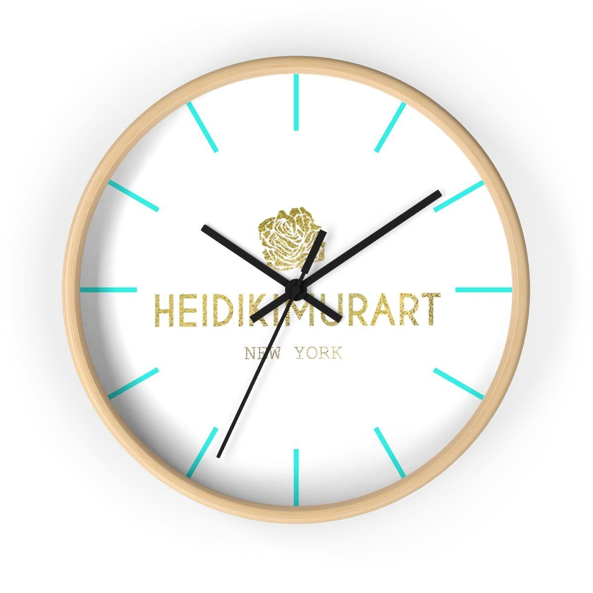 Heidi Kimura Art In Gold Foil Color 10 Inch Diameter Wall Clock Made In Usa How To Make Wall Clock Wall Clock Clock