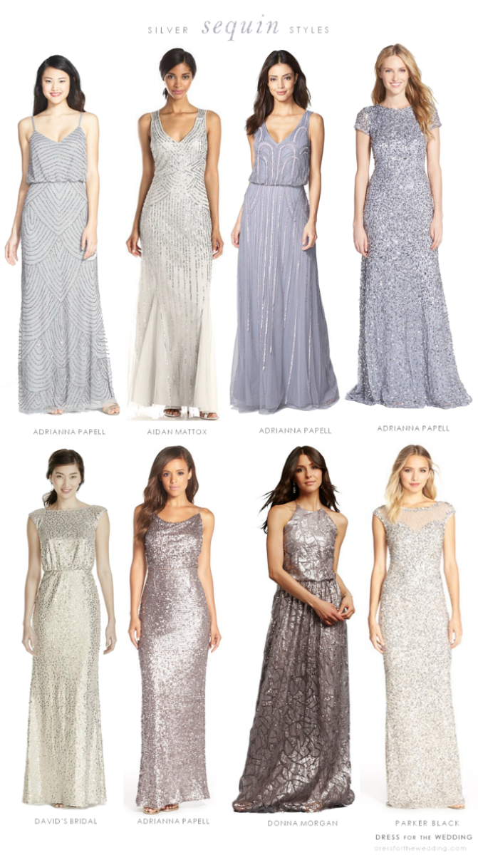 Silver beaded and sequined bridesmaid dresses  5490244e6683