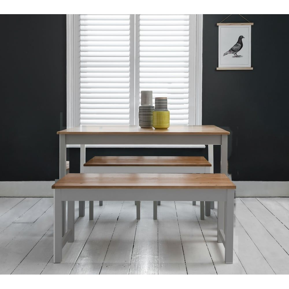 Annika Dining Table With 2 Benches In Grey Natural Pine Dining