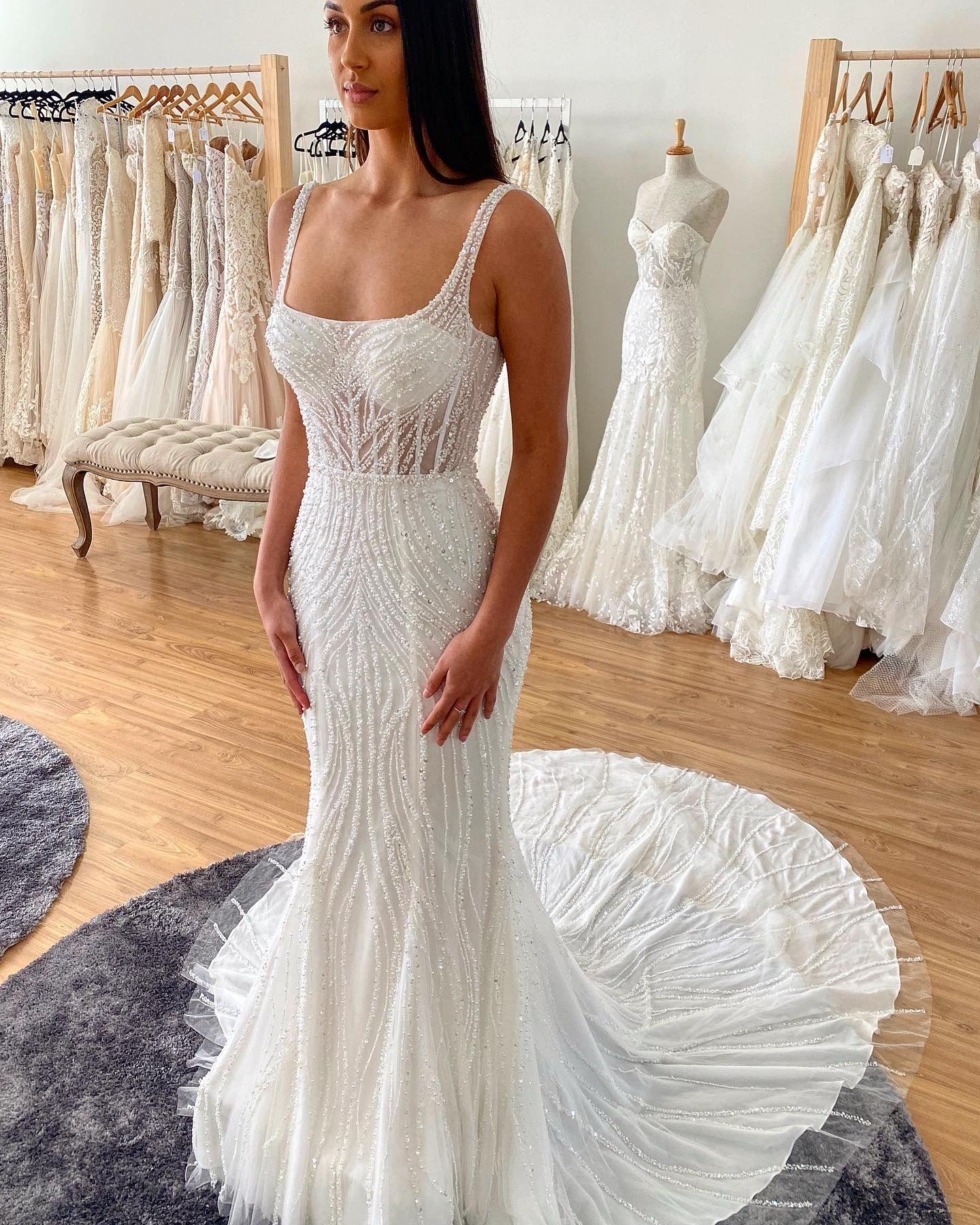 Square Neck Fitted Mermaid Wedding Dress Full Beaded Corset Bodice 2020 2021 Perth Australia In 2021 Wedding Dresses Australia Wedding Dresses Wedding Dresses Beaded [ 1800 x 1440 Pixel ]