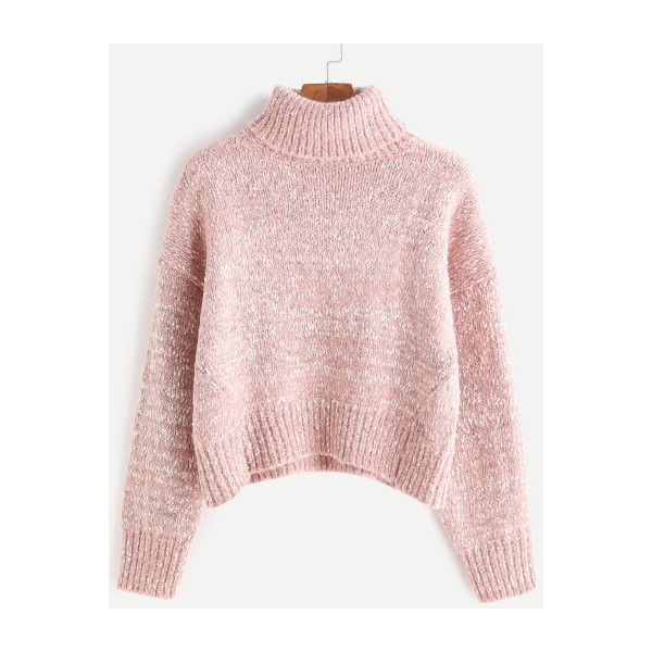ed13fbb95 SheIn(sheinside) Turtleneck Drop Shoulder Crop Cable Knit Sweater ...
