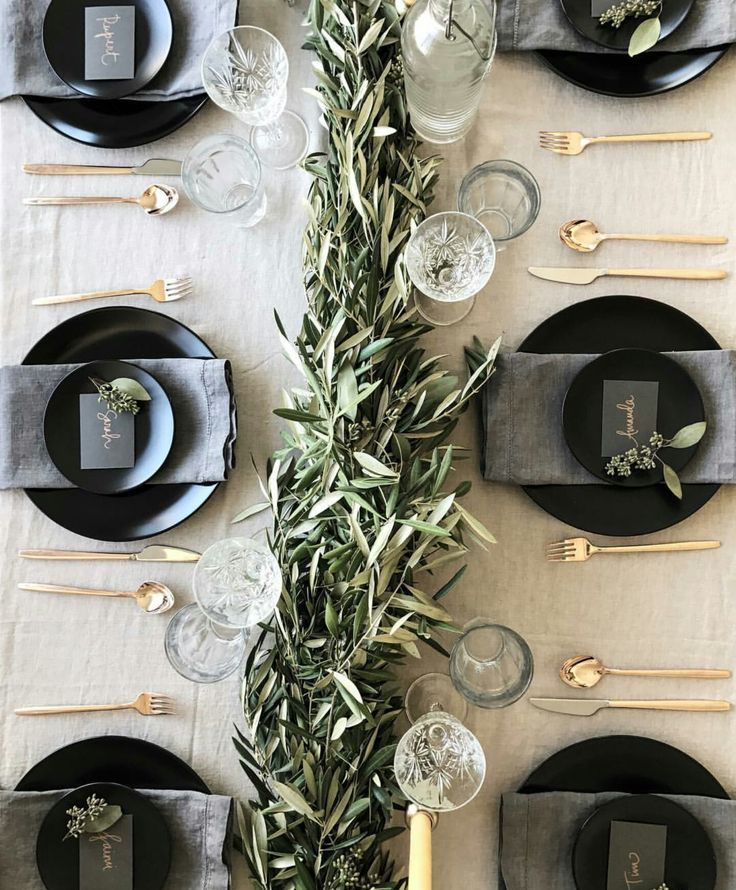Photo of Black, green and gold for a party table setting. Love the all green in the middl…
