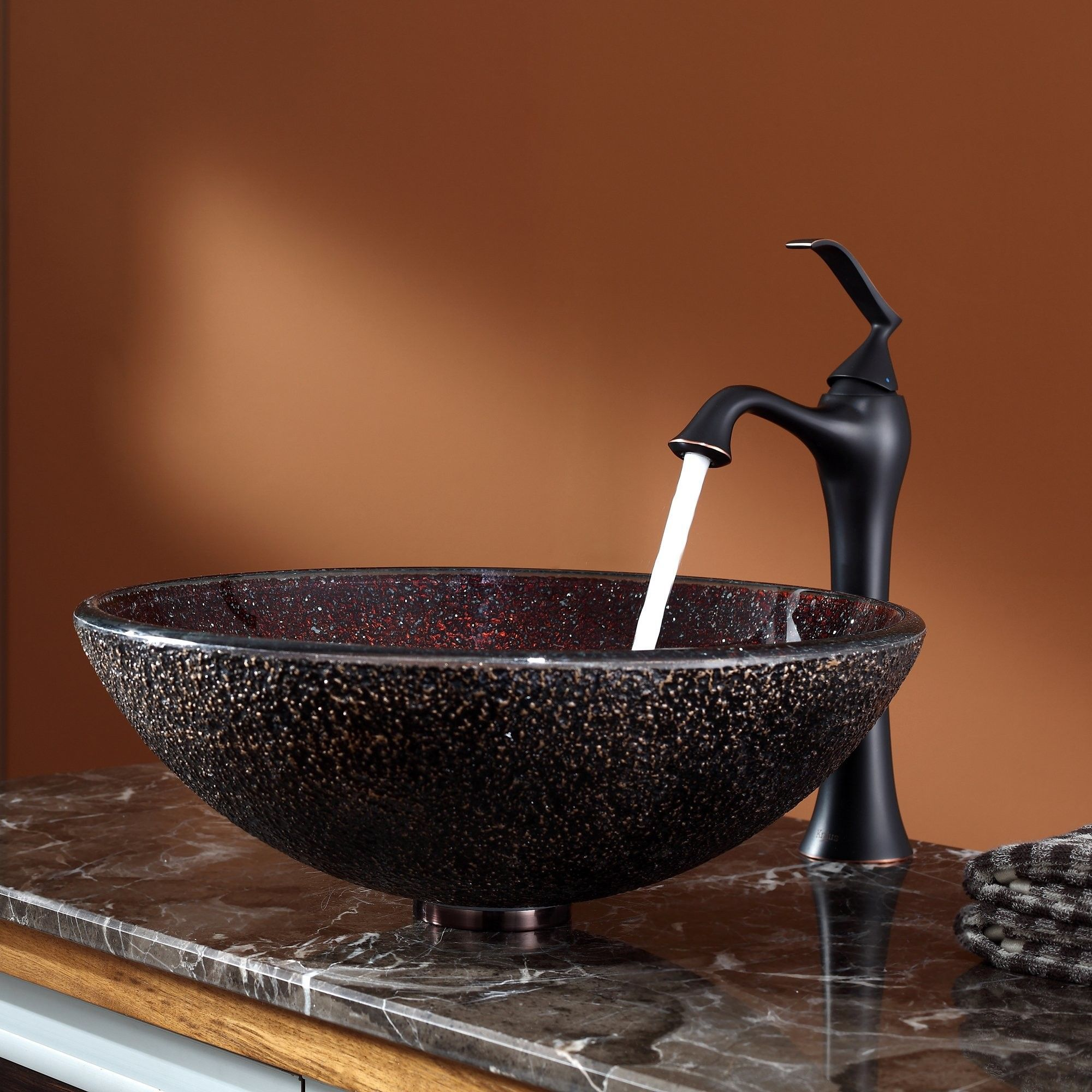 Callisto Glass Vessel Sink And Ventus Faucet Glass Vessel Sinks