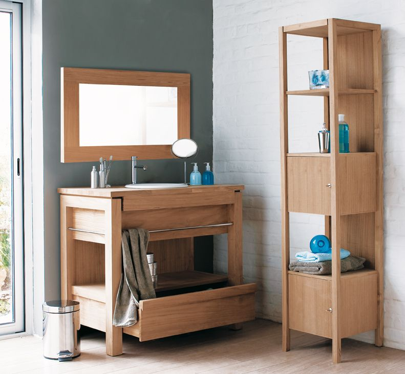Pure solid teak bathroom vanity and standing shelf - part of the