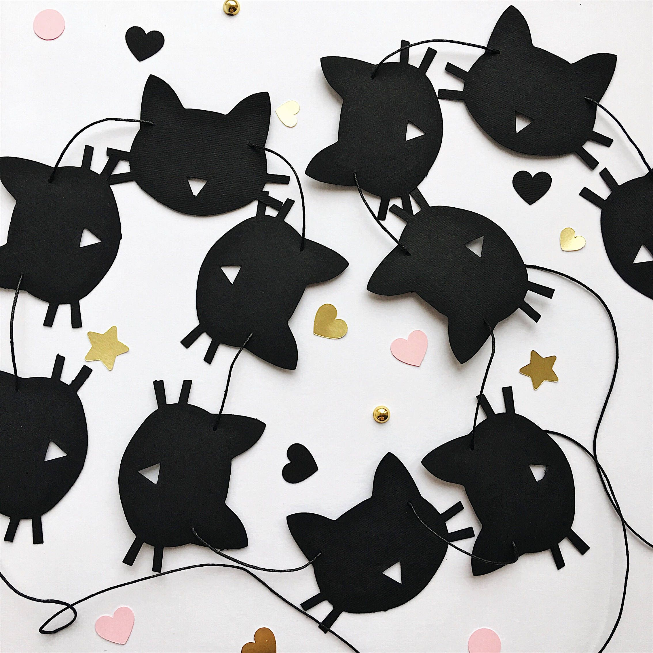 Black Cat Decorations Cat Paper Garland Black Cat Birthday Party Decorations