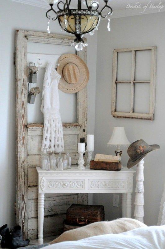 Master bedroom with diy rustic barn wood headboard doors old doors and corner vanity Master bedroom corner decor