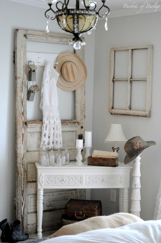 Master Bedroom With Diy Rustic Barn Wood Headboard Doors Old Doors And Corner Vanity