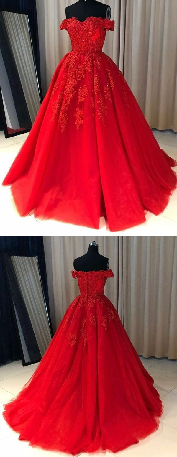 Off shoulder red lace aline cheap evening prom dresses m