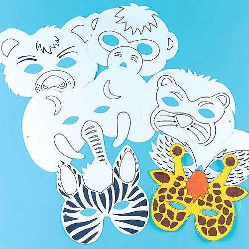 Caretas infantiles coloreables en forma de animales para decorar y utilizar en un disfraz (pack de 6)