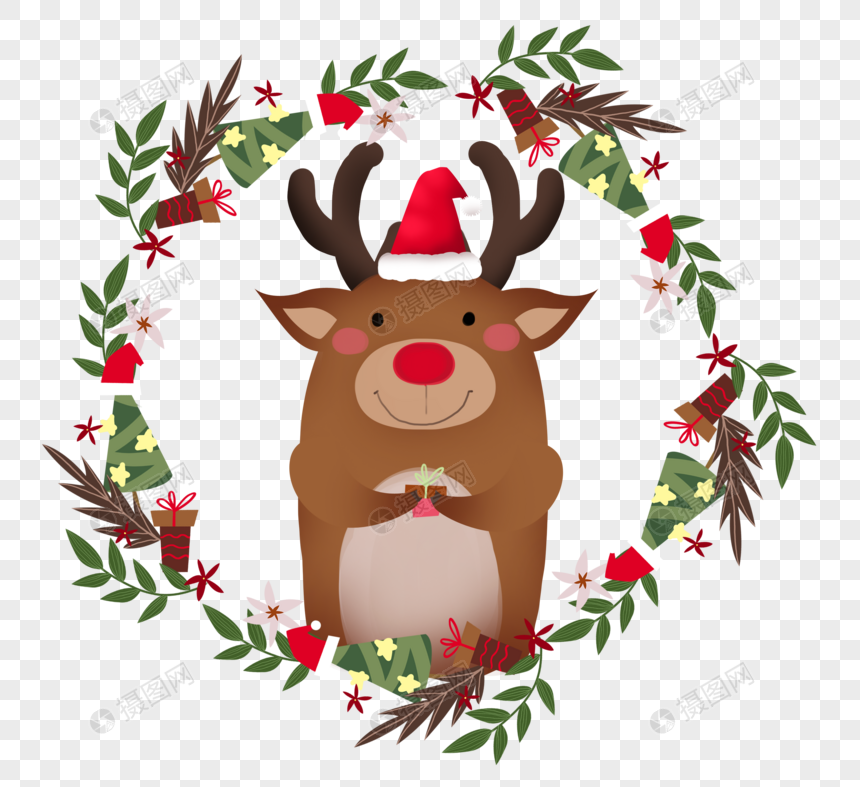 Little Fresh Christmas Garland Christmas Wreath Christmas Elk