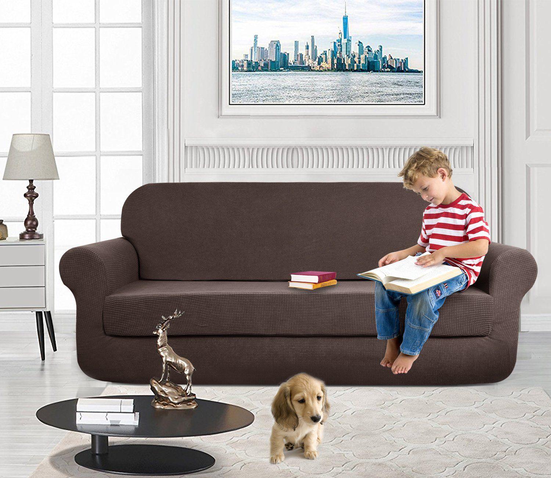 Aujoy Stretch 2piece Sofa Covers Waterrepellent Dog Cat Pet Proof