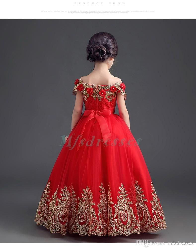 luxury beading gold appliques ball gown off the shoulder red