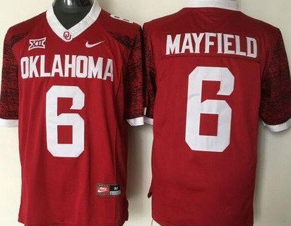 check out e348b c48b0 Men's Oklahoma Sooners #6 Baker Mayfield Red 2016 College ...