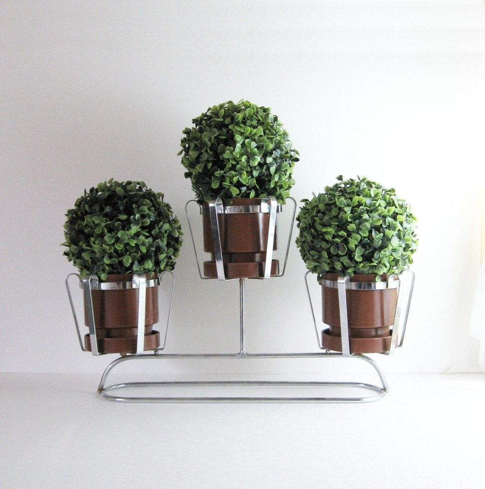 vintage 3 pot chrome planter - mid century modern home decor
