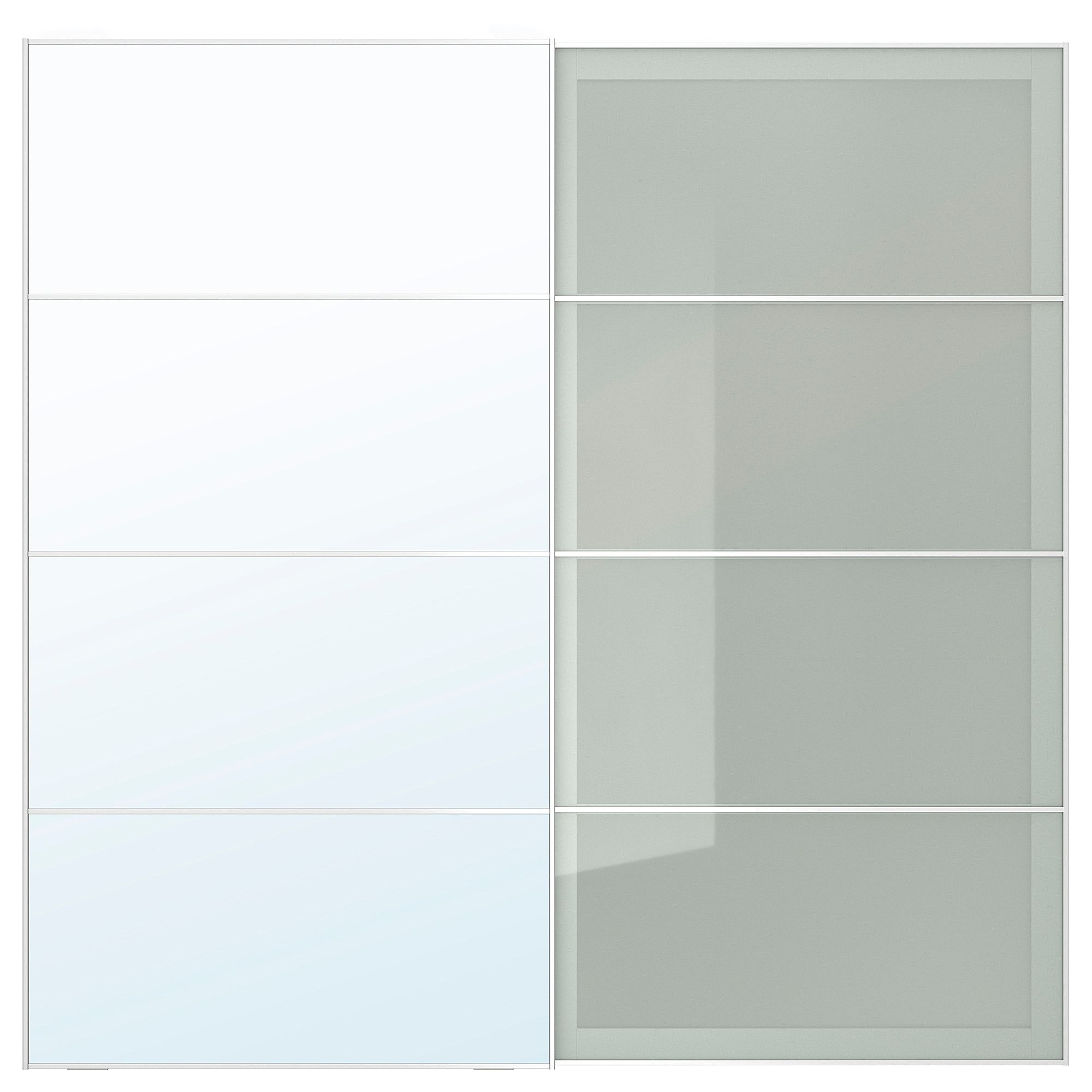 Schiebeturpaar Auli Sekken Spiegelglas Frostglas Frost Glas