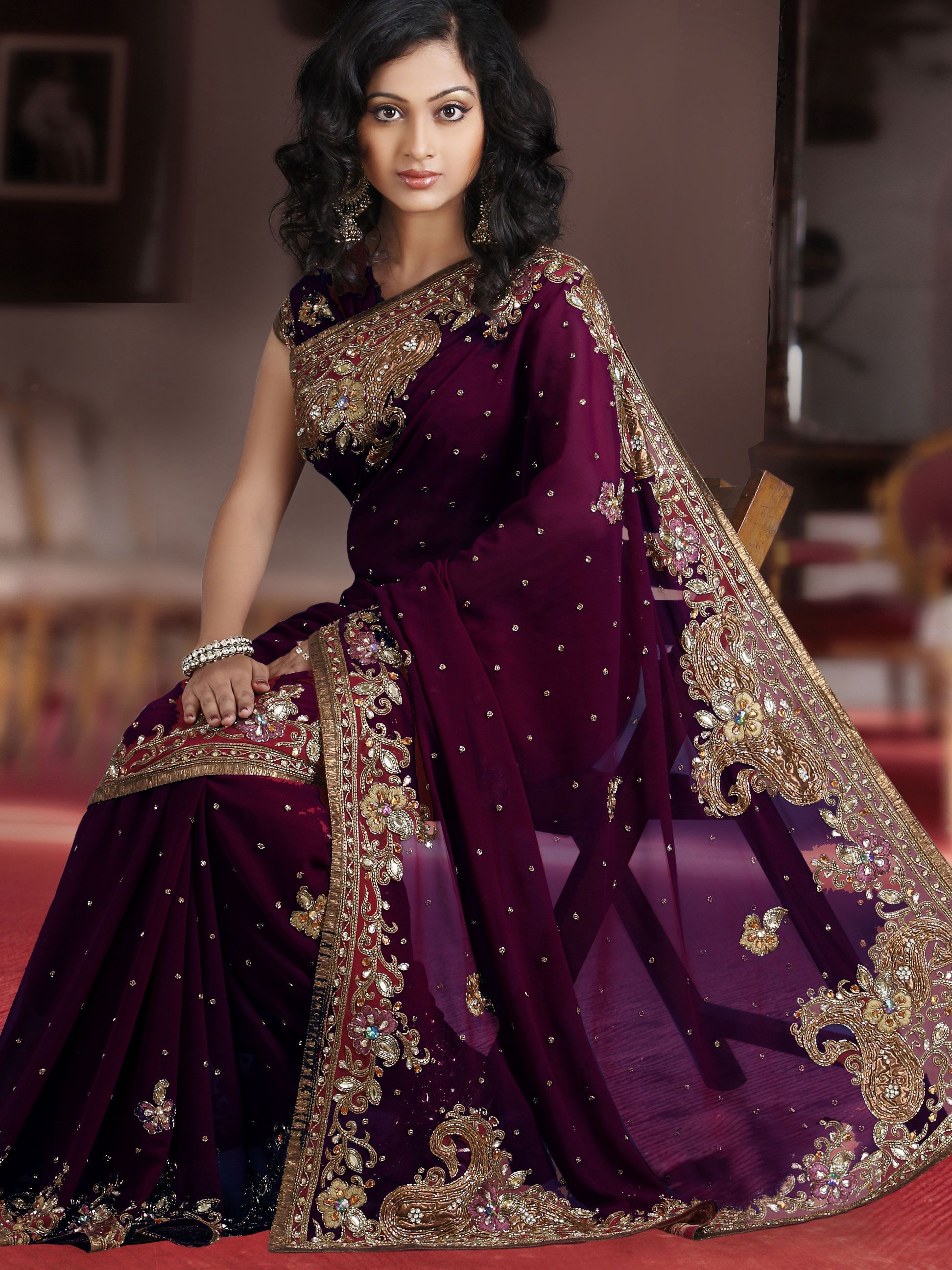 Wine Faux Georgette Saree with Blouse Online Shopping: SLSSK4800 ...