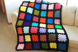 Image result for black granny square afghan