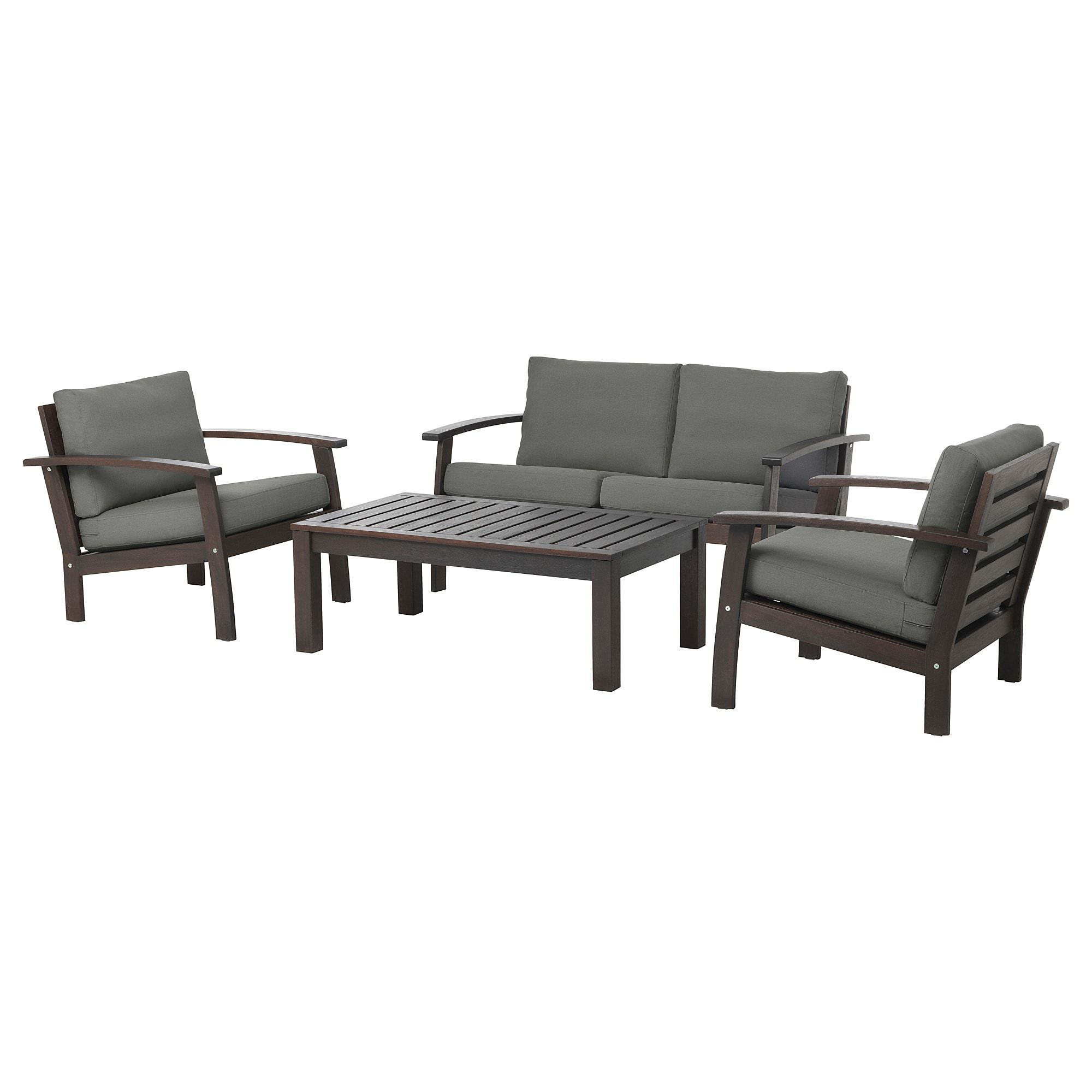 Kloven 4 Seat Conversation Set Outdoor Brown Stained Froson