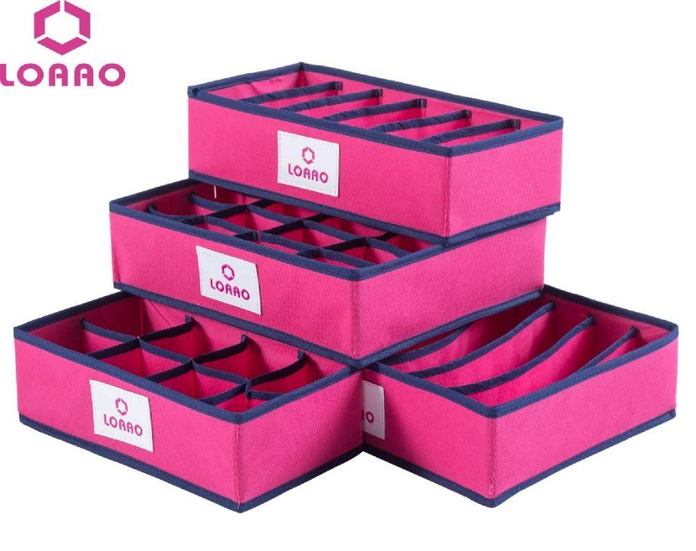 LOAAO 4 In 1 Per Set Foldable Storage Box Home Organizer Box Bins Bra  Underwear Necktie