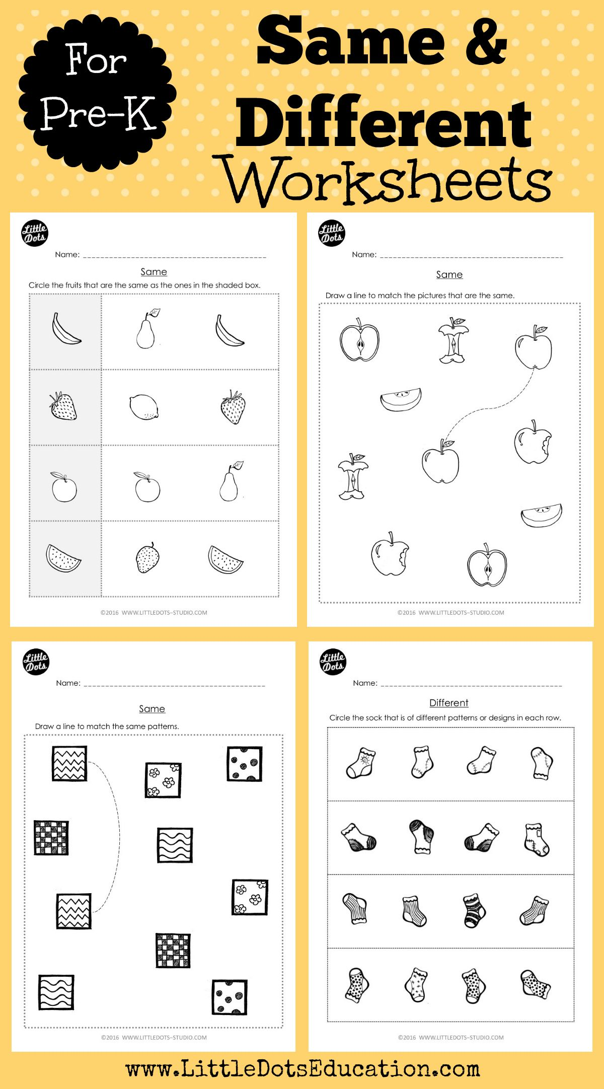 Pre K Same And Different Worksheets And Activities
