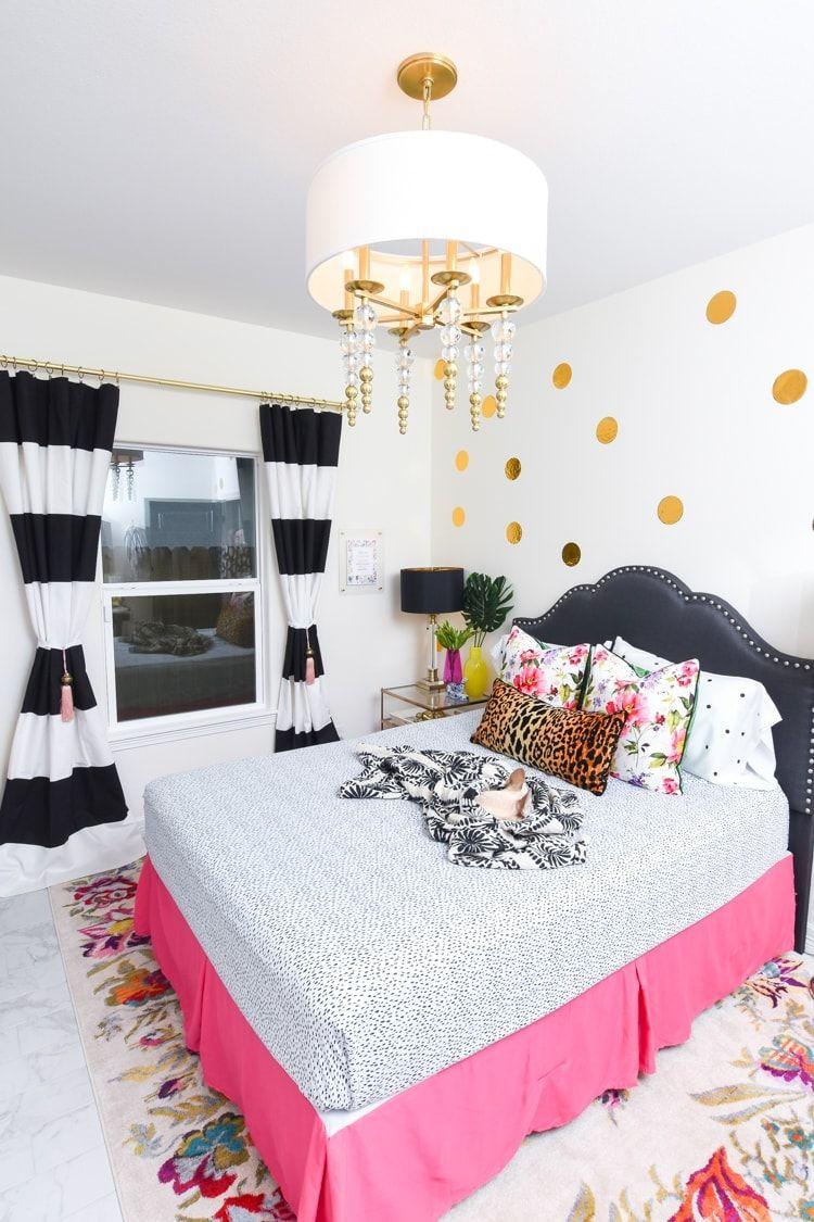 Guest Bedroom Decor Room Reveal Monica Wants It In 2020 Hot Pink Bedrooms Guest Bedroom Decor Striped Bedroom