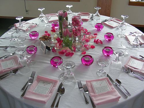 Elegant Table Settings white and pink table setting with centerpiece details | wedding
