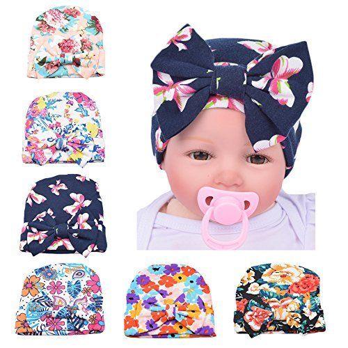 25b51edb4e4 Amazon.com  Ever Fairy 3 Pcs Newborn Hospital Hat Infant Baby Hat Cap with Big  Bow Soft Cute Knot Nursery Beanie Floral print  Clothing