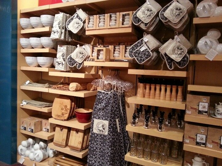 Mickey Kitchen Stuff!! This shelf is at a gift shop as you enter ...