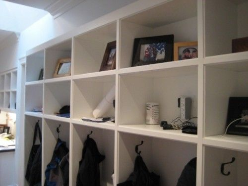 Look closely not your average mudroom cubbies these for Mud room addition ideas