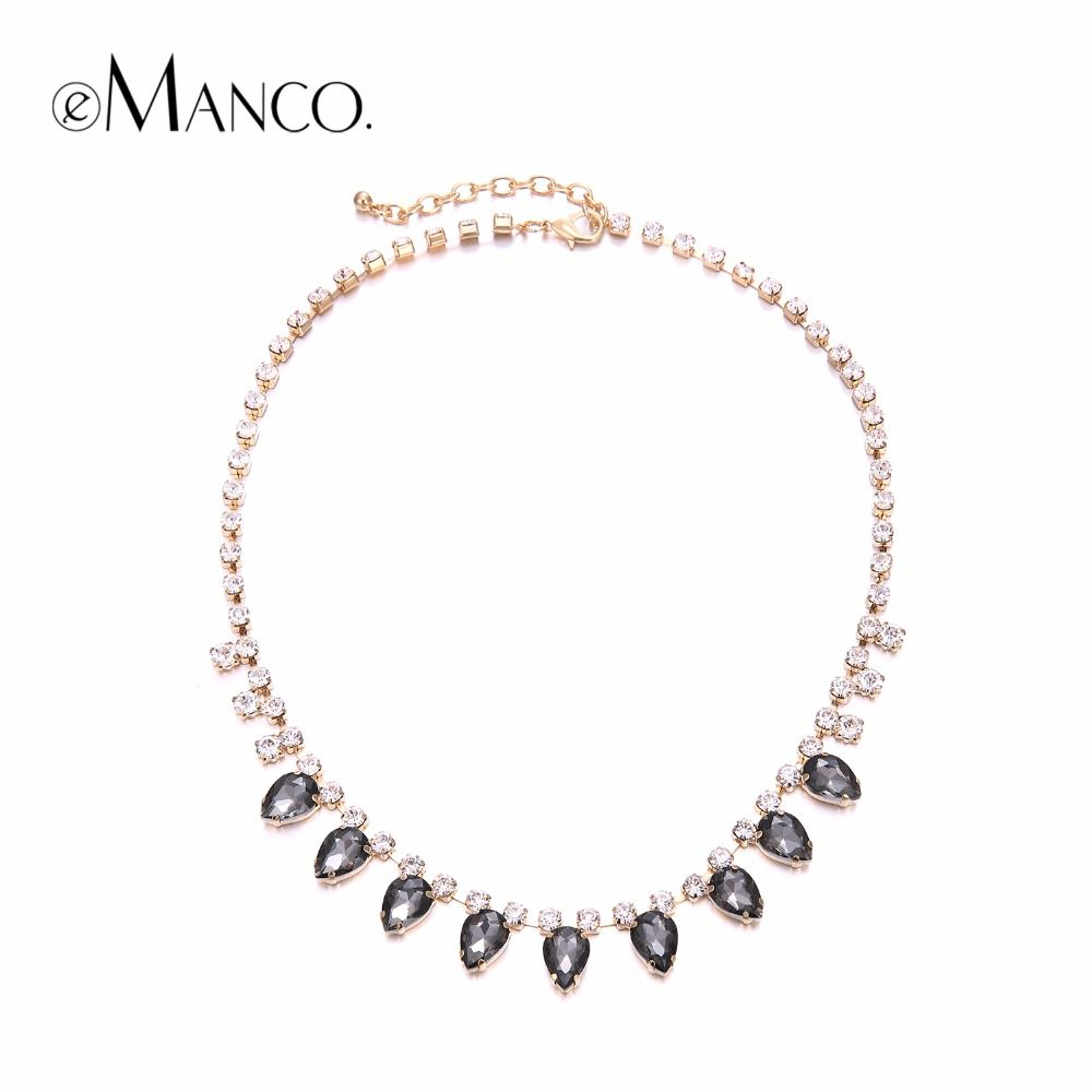 Statement Luxury glass Crystal Necklace for women Trendy Geometric Chokers  Necklace Brand Fashion Jewelry 3a1a3c85abba