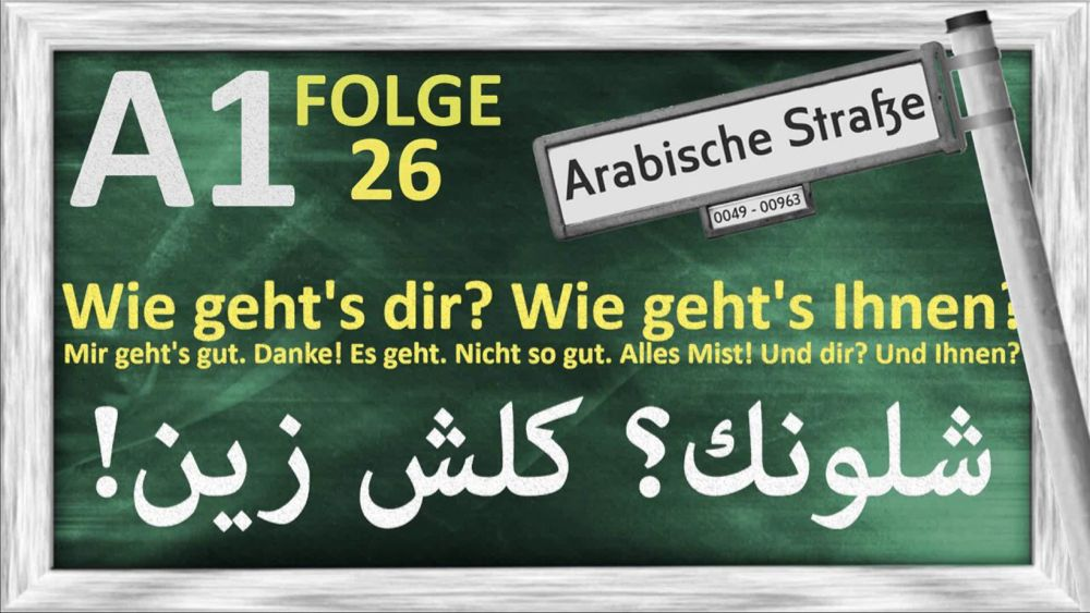 الدرس 26 كيف حالك A1 Folge 26 Wie Geht S Dir Mir Geht S Gut Youtube Novelty Sign Home Decor Novelty