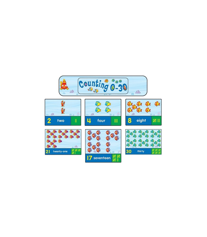 """This fun, counting bulletin board set supports NCTM standards and includes:  A large fish tank header (approx. 16.25"""" x 5.25"""" when assembled) 31 fish tanks with numbers 0–30, number words, tally marks, and fish A blank header A resource guide"""