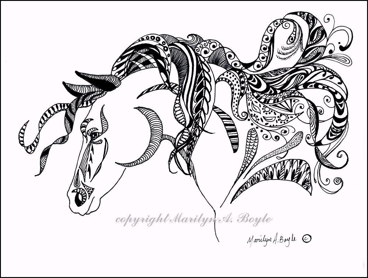 Line Drawing Zentangle : Original ink drawing art zentangle doodle horse wall