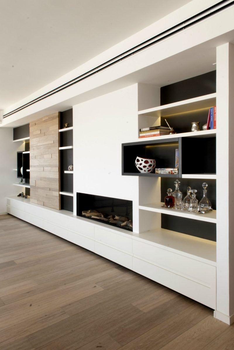 Int Rieur Design Avec Meuble Salon Blanc Et Plancher En Bois  # Meubles Bas Bibliotheque Salon