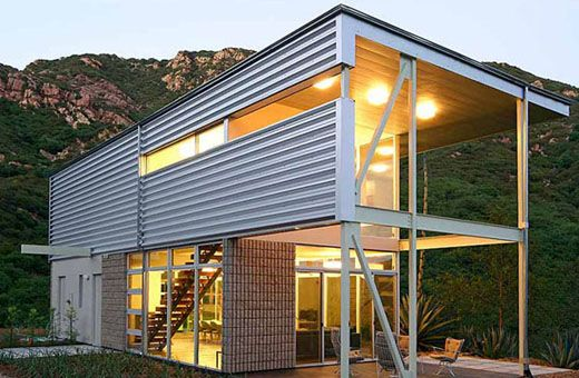 Horizontal Corrugated Metal Siding Malibu Residence By