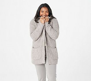 Yay for boucle! This textured-knit cardi makes us so happy! From Barefoot Dreams.